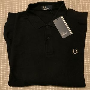 Fred Perry Shirts - NWT Navy Fred Perry Textured LS Polo Size Large